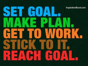 Set Goal, Make Plan, Get to work, Stick to it, Reach Goal