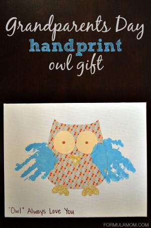 Grandparents Day Handprint Owl Gift #craftsforkids