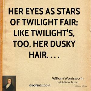 Her eyes as stars of twilight fair; Like twilight's, too, her dusky ...