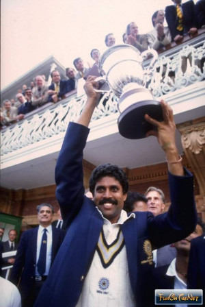 Kapil Dev of India lifts the Cricket World Cup after his team beat the ...