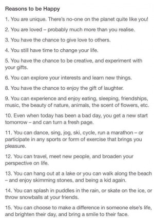 Reasons to be happy