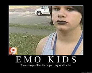 Emo kids there's no problem funny poster