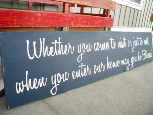 Custom Guest Room Quote Wood Sign -Hand Painted- Whether you come to ...