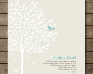 Christening Tree Gift, Bible Verse, Gift for Godchild, Bird in Tree ...